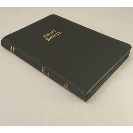 Biblia UBG A6 Skóra twarda, zamek, czarna