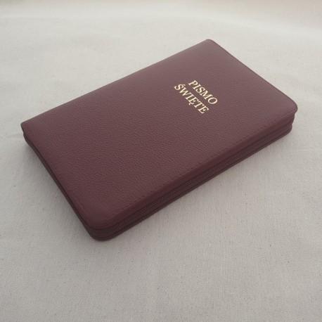 Biblia UBG F1 Skóra twarda, zamek, bordo
