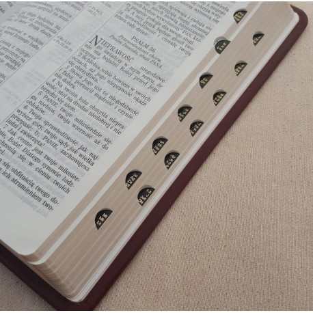 Biblia UBG F1 Skóra twarda, indeks, bordo